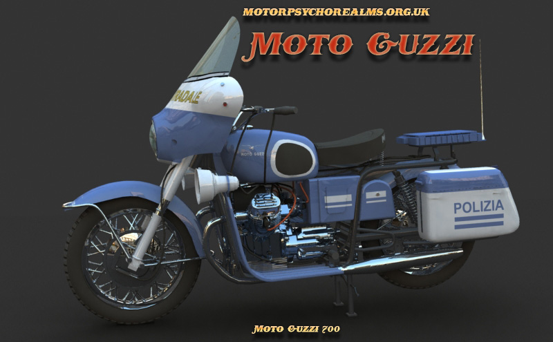 MotoGuzzi 700 bike picture. computer generated image by Mystic Realms